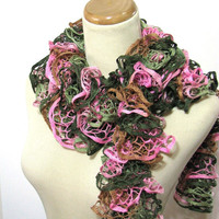 Hand Knit Ruffled Scarf - Pink Green Brown Women Accessories Scarves