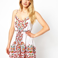 Oasis Flowered Placement Print Beach Dress