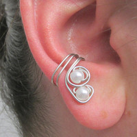 Double Pearl Ear Cuff, Ear Wrap, No Pierce, Cartilage Cuff, Wedding Accessory