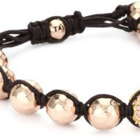 Tai Rose Gold Hammered Ball and Pave Swarovski Crystal Ball Bracelet