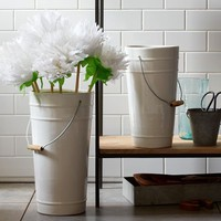 Ceramic Floral Bucket Vases