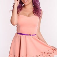Peach Strapless Perforated Dress