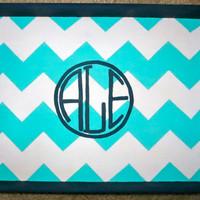 Chevron Circle Monogram 9.5x13in Tray
