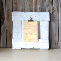 Repurposed White Distressed Square Pallet Wood Picture Frame with Clip