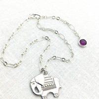 Elephant Ankle Bracelet, Elephant Jewelry, Anklet, Silver Chain Anklet, Silver Elephant, Cute Animal Jewelry, Purple Crystal