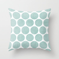 robins egg blue polka dots Throw Pillow by her art