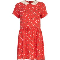Red ditsy print tea dress