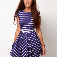 River Island Stripe Skater Dress With Belt at asos.com