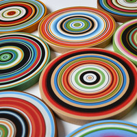 "Amy Giacomelli Paintings Art Sculpture wood circles Original - 9 piece large set ... ""Round and Round"""