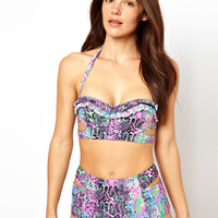 River Island Python Print Cut out Bikini at ASOS
