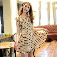 Korean Fashion Lotus Leaf Sleeve Polka Dot Pattern Dress Apricot