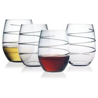 Susquehanna Glass Spiral Stemless Wine Glasses, Set of 4:Amazon:Kitchen & Dining