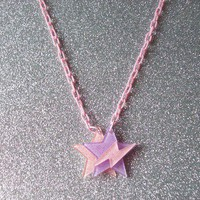 Space Pop - Jem Inspired Glitter Star and Lightning Necklace from On Secret Wings