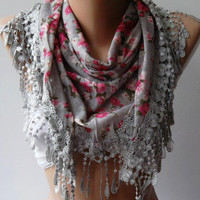 Grey - flowered - Elegance  Shawl / Scarf with Lacy Edge
