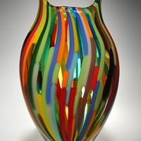 Mixed Cane Foglio by David Patchen: Art Glass Vessel - Artful Home