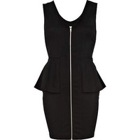 Black zip front peplum dress