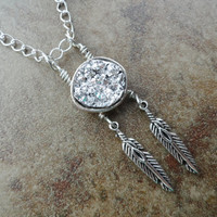 Silver Druzy Agate Dream Catcher Necklace Silver Feathers