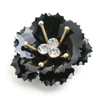 Vintage Black Enamel Flower Brooch - Mod Floral Costume Jewelry Pin / Triple Clear Rhinestone Center