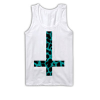 Upside Down CROSS Leopard Print Tank Top Unisex Cool Shirt