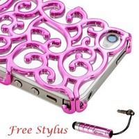 Chrome Electroplating Hollow Pattern PC Hard Back Case Cover for iPhone 4G 4S, Luxury Hot Pink:Amazon:Cell Phones & Accessories