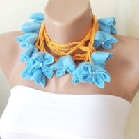Handmade Fleece Baby Blue Flower Lariat Scarf Necklace by Periay