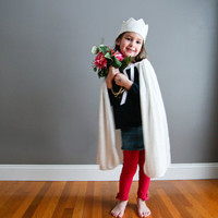 Handmade Good Witch Cape and Crown White  Crushed Velvet