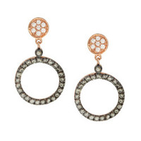 La Preciosa Rose Goldplated Sterling Silver Cubic Zirconia Circle Earrings | Overstock.com