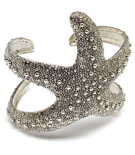 Silvertone Sea Lovers Starfish Cuff Bracelet