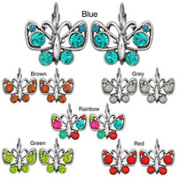 Kate Marie Silvertone Cubic Zirconia Butterfly Design Earrings | Overstock.com