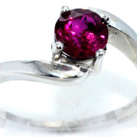 1 Carat Ruby Round Ring .925 Sterling Silver Rhodium Finish White Gold Quality