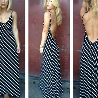 Black Stripe Maxi Dress with Open Scoop Back