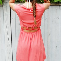 Coral Pink Hi-Low Dress with Round Neckline & Cutout Back