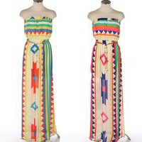 Beach Party Aztec Ganado Strapless Chain Link Belt Sexy Long Maxi Dress S/M/L