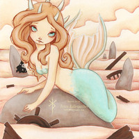 "Siren's Rock - Mermaid 5""x7"" Print 