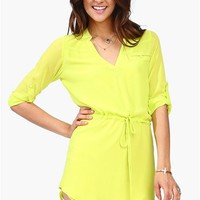 Kane Drawstring Dress - Lime