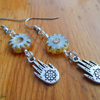 Silver Hamsa Hand Earrings - Long Hamsa Earrings - Silver Hand Earrings - Dangle Earrings
