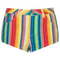 MOTO Bright Stripe Hotpant - Denim  - Clothing