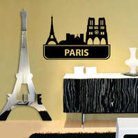Paris France City Skyline Decal Sticker Eiffel Tower by DabbleDown