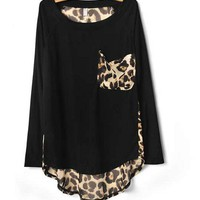 Black Leopard Print Chiffon Loose Long-sleeved T-shirt