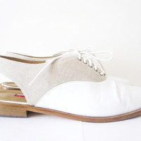 vintage white and natural leather sling back by telloandrose