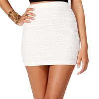 Ivory Banded Lace Mini Skirt