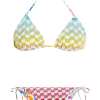 Missoni | Crochet-knit printed reversible triangle bikini | NET-A-PORTER.COM