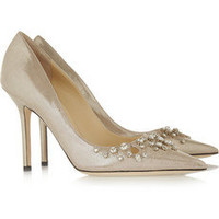 Jimmy Choo | Flick embellished glitter-finished leather pumps | NET-A-PORTER.COM
