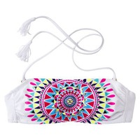 Xhilaration® Junior's Bandeau Swim Top -Multicolored Print