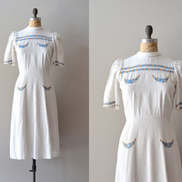 1930s dress / vintage 30s dress / Blue Bell Knoll dress