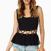 Lattice Peplum Top - Black