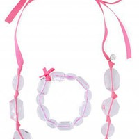 Translucent Beads on Pink Ribbon | Izzie Necklace & Bracelet Set | Stella & Dot