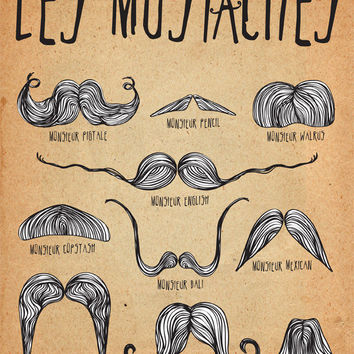 Mustache Art Print / Poster Les Mustaches 8x10 by ParadaCreations