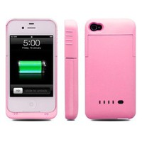 Greenery BXT® Slim External Rechargeable Backup Battery Charger Charging Case Cover for iPhone 4 4s (1900mAh)