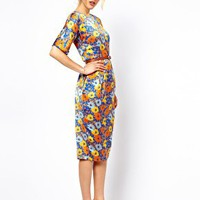 ASOS Soft Wiggle Dress In Floral Print With Belt at asos.com